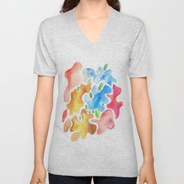 170623 Colour Shapes Watercolor 3| Abstract Shapes Drawing | Abstract Shapes Art|Watercolor Painting Unisex V-Neck