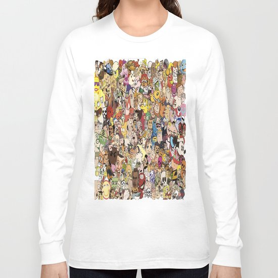 Cartoon Collage Long Sleeve T-shirt