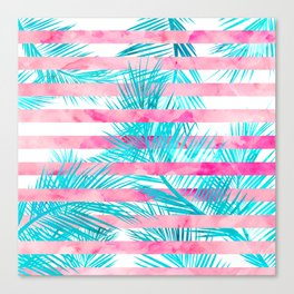 Modern pink turquoise tropical palm tree watercolor stripes pattern Canvas Print