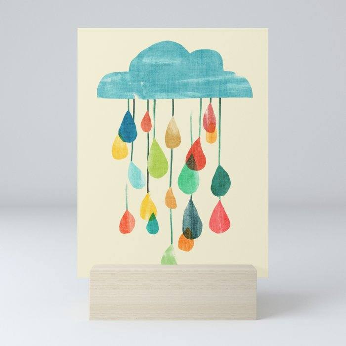 cloudy with a chance of rainbow Mini Art Print