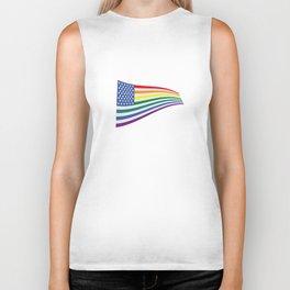 United States Rainbow flag Biker Tank