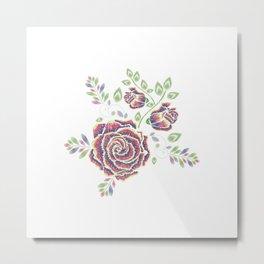 Purple embroidered rose Metal Print