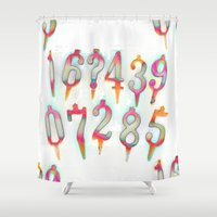 numbers Shower Curtains featuring Numbers! white by gasponce