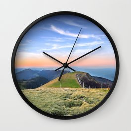 Twilight of top hill mountain scenics view in Alps Wall Clock