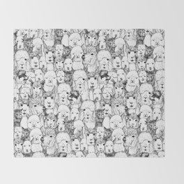 just alpacas black white Throw Blanket