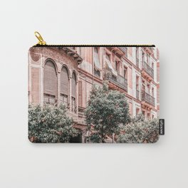 Barcelona Street Print, Spain City Orange Fruit Trees Print, Urban Photography, Summer Travel Tropical Pink Print Carry-All Pouch