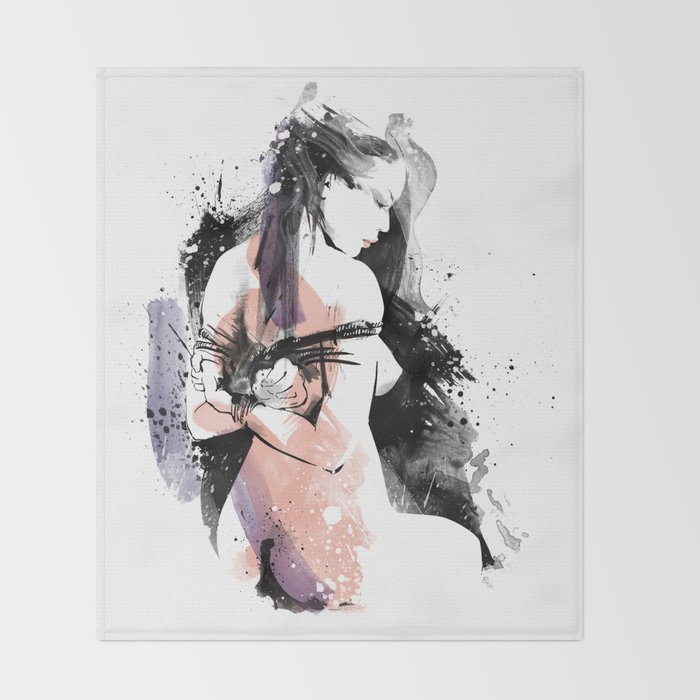 Shibari - Japanese BDSM Art Painting #9 Throw Blanket