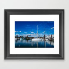 Columbia River Boat Reflection Framed Art Print