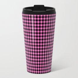 Mini Black and Pink Cowboy Buffalo Check Travel Mug