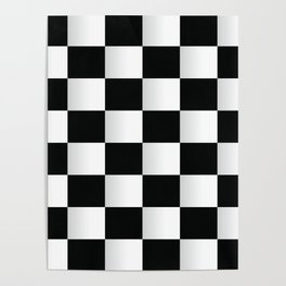 BLACK AND WHITE SQUARES Abstract Art Poster