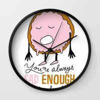 doughnut Wall Clocks featuring Sad Doughnut by Chris Piascik