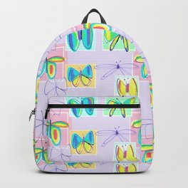 Butterflies and Squares Pattern Backpack