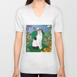 Black and White Cat in the garden - Alfie Chinacat by Nina lyman Unisex V-Neck
