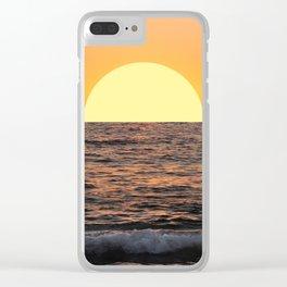 Fiery Ocean Sunset Clear iPhone Case