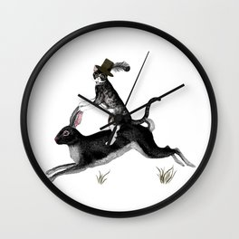 Cat And Rabbit Going For A Ride Wall Clock