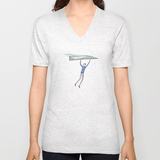 hang on to your paper airplane Unisex V-Neck