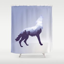 Wolf Double Exposure Surreal Wildlife Animal Wolves Gifts Shower Curtain