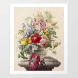 Herman Henstenburgh - Flowers In A Glass Vase With A Butterfly Art Print