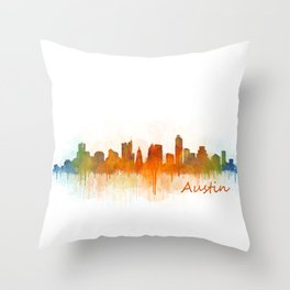 Austin Texas, City Skyline, watercolor  Cityscape Hq v3 Throw Pillow
