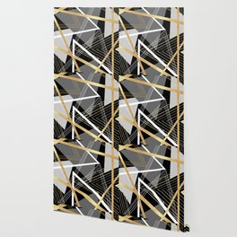 Original Gray and Gold Abstract Geometric Wallpaper
