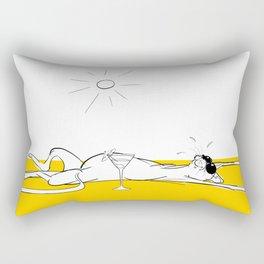 Lazy Sunbathing Cat Rectangular Pillow