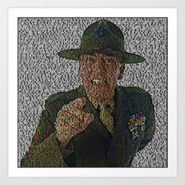 Text Portrait of Sergeant Hartman with Script of Full Metal Jacket Art Print