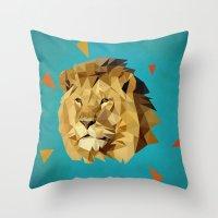 lion Throw Pillows featuring lion by gazonula