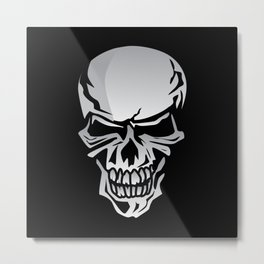 Chrome Skull Illustration Metal Print