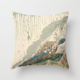 1854 Comparative Lengths of Rivers and Heights of Mountains Throw Pillow