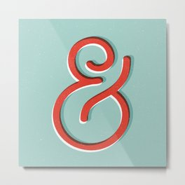Ampersand red white and green and symbol typography design minimalist home decor wall decor Metal Print