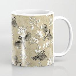 Flowers and Flight in Monochrome Golden Tan Coffee Mug