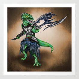 Barbarian Lizard Warrior Art Print