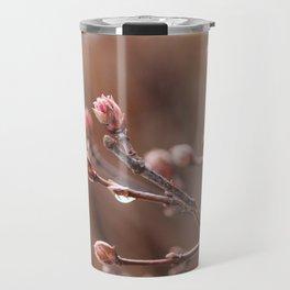 New Life -  Fresh Spring Buds after rain, Rose and earth tones, Nature Photography Macro Travel Mug