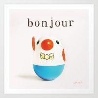 bonjour Art Prints featuring Bonjour! by giftedfools design studio