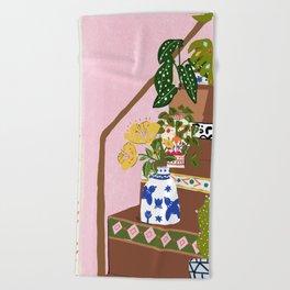 Bohemian stairs Beach Towel