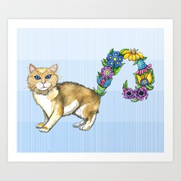 A Brown Cat Sprouting Flowers Art Print