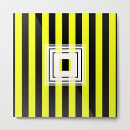 Bumblebee Box - Geometric, bold, yellow and black striped design Metal Print