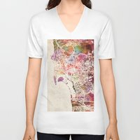 san diego V-neck T-shirts featuring San Diego by MapMapMaps.Watercolors