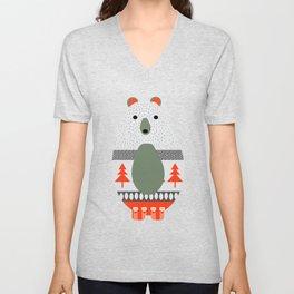 Christmas bears and birds Unisex V-Neck