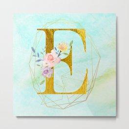 Gold Foil Alphabet Letter E Initials Monogram Frame with a Gold Geometric Wreath Metal Print