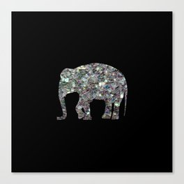 Sparkly colourful silver mosaic Elephant Canvas Print