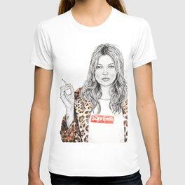 Kate Moss Supreme Leopard Print Portrait T-shirt