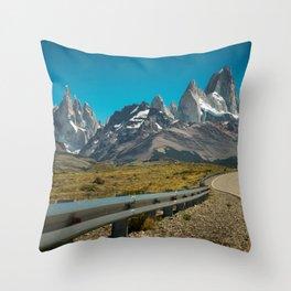 Road to Fitz Roy Throw Pillow
