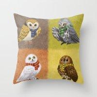 hogwarts Throw Pillows featuring Hogwarts Owls by Katie O'Meara