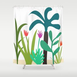 Lush Tropical Garden // Hand-drawn Modern Organic Illustration Shower Curtain