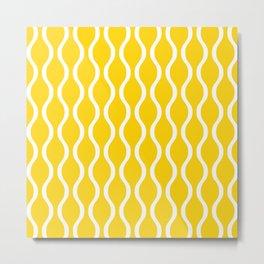 Classic Retro Ogee Pattern 841 Yellow Metal Print