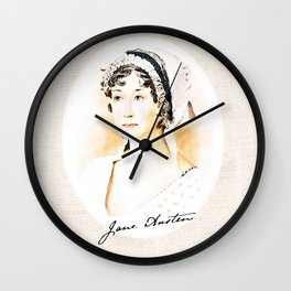 Portrait of a lady writer - Jane Austen Wall Clock