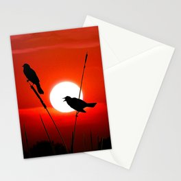 Blackbirds On Red Sunset. Stationery Cards