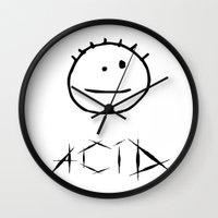 acid Wall Clocks featuring Acid by Komrod