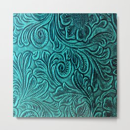 Turquoise Embossed Tooled Leather Floral Scrollwork Metal Print